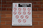 Nottingham Forest 1 Birmingham City 0, 19/04/2014. City Ground, Championship. A list of the prohibited items not allowed into the City Ground. The Championship fixture between Nottingham Forest and Birmingham City from the City Ground. Nottingham Forest won the game 1-0.  Photo by Simon Gill.
