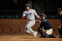 Jacksonville Jumbo Shrimp Rodrigo Vigil (1) at bat in front of catcher Jack Kruger (10) during a Southern League game against the Mobile BayBears on May 7, 2019 at Hank Aaron Stadium in Mobile, Alabama.  Mobile defeated Jacksonville 2-0.  (Mike Janes/Four Seam Images)