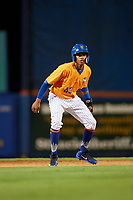 St. Lucie Mets pinch runner Wilmer Reyes (43) leads off second base during a game against the Daytona Tortugas on August 3, 2018 at First Data Field in Port St. Lucie, Florida.  Daytona defeated St. Lucie 3-2.  (Mike Janes/Four Seam Images)