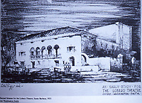 Santa Barbara:  Second Scheme for the Lobero Theatre, 1923. Architect, George Washington Smith. Photo Dec. 1987.