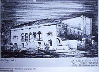Santa Barbara:  Second Scheme for the Lobero Theatre, 1923. Architect, George Washington Smith. Photo Dec. 1987.