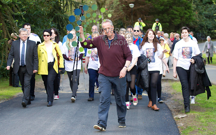 Peter Howson completes a 300 mile walk from Aberdeen to Ayr and has raised over &pound;70,000 for Scottish Autism. Peter completed the walk in 21 days.<br /> Picture: Universal News And Sport (Scotland) 24 April 2014.