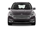 Car photography straight front view of a 2016 Ford Galaxy Titanium 5 Door Minivan Front View