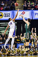 Baltimore, MD - William & Mary Tribe guard Greg Malinowski (5) hits on a three pointer over Hofstra Pride forward Andre Walker (44) during the CAA Basketball Tournament at the Royal Farms Arena in Baltimore, Maryland on March 6, 2016.  (Photo by Philip Peters/Media Images International)