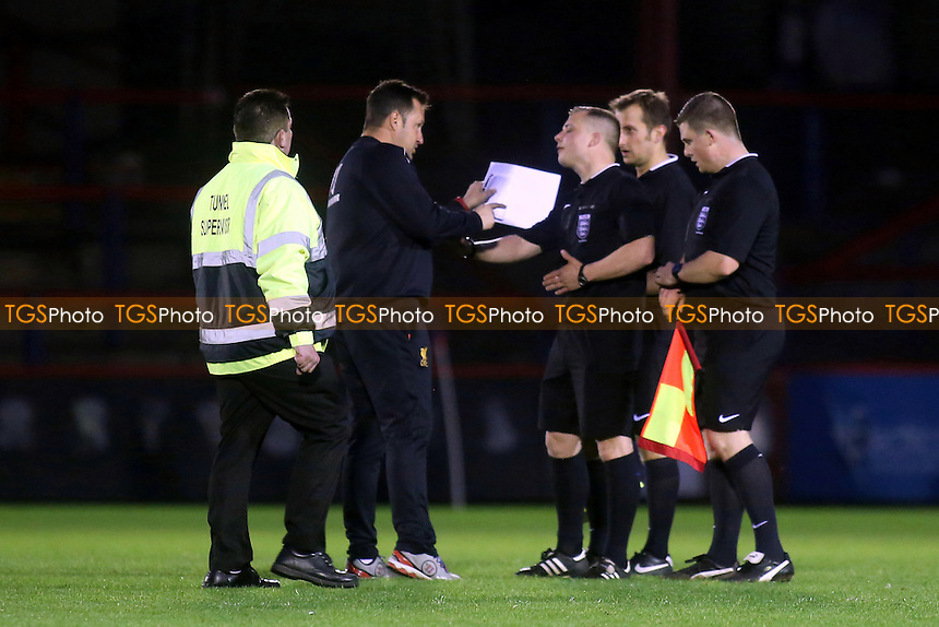 A member of the Liverpool coaching staff was not happy with referee, Mr Adrian Quelch and voiced his opinion at the final whistle - Chelsea Under-21 vs Liverpool Under-21 - Barclays Under-21 Premier Youth League Football at the Recreation Ground, Aldershot Town FC - 07/05/15 - MANDATORY CREDIT: Paul Dennis/TGSPHOTO - Self billing applies where appropriate - contact@tgsphoto.co.uk - NO UNPAID USE