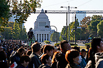 Spectators wait in front of the diet building before the royal parade of Japanese Emperor Naruhito and Empress Masako in Tokyo, Japan on Sunday, November 10, 2019. (Photo by AFLO)