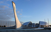 28th January 2018, Sochi, Russia The pillar of the Olympic flame towers outside Fisht-Stadium by the Black Sea in Sochi, Russia, 28 January 2018. The site hosted the Sochi Winter-Olympics in 2014 and will host six World Cup soccer games in the summer of 2018.