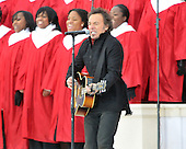 "Washington, DC - January 18, 2009 -- Bruce Springsteen performs at the ""Today: We are One - The Obama Inaugural Celebration at the Lincoln Memorial"" in Washington, D.C. on Sunday, January 18, 2009..Credit: Ron Sachs / CNP.(RESTRICTION: NO New York or New Jersey Newspapers or newspapers within a 75 mile radius of New York City)"