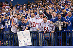 New York Giants fans cheer after the NFL Super Bowl XLVI football game against the New England Patriots on Sunday, Feb. 5, 2012, in Indianapolis. The Giants won 21-17 (AP Photo/David Stluka)...