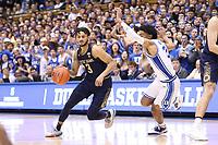 DUKE, NC - FEBRUARY 15: Prentiss Hubb #3 of the University of Notre Dame drives past Tre Jones #3 of Duke University during a game between Notre Dame and Duke at Cameron Indoor Stadium on February 15, 2020 in Duke, North Carolina.