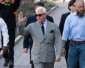 Former adviser to United States President Donald J. Trump, Roger Stone, waves as he walks towards the US District Court in Washington, DC on Thursday, March 14, 2019. <br /> Credit: Ron Sachs / CNP<br /> (RESTRICTION: NO New York or New Jersey Newspapers or newspapers within a 75 mile radius of New York City)