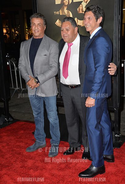 Sylvester Stallone (left) with Chilean miner Luis Urzua &amp; actor Lou Diamond Phillips at the premiere of Phillips' movie &quot;The 33&quot;, part of the AFI FEST 2015, at the TCL Chinese Theatre, Hollywood. <br /> November 9, 2015  Los Angeles, CA<br /> Picture: Paul Smith / Featureflash