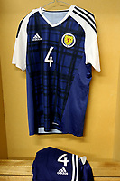 The shirt of Scotland's Alex Iacovitti on display in the dressing room pre-match during England Under-18 vs Scotland Under-20, Toulon Tournament Semi-Final Football at Stade Parsemain on 8th June 2017