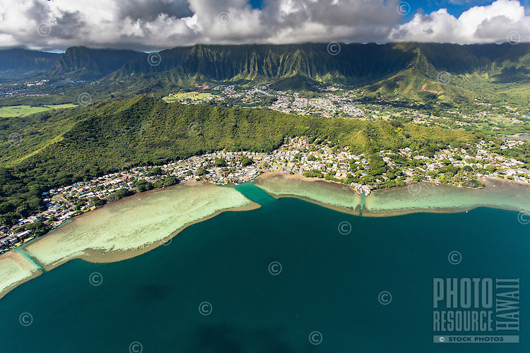An aerial view of Kane'ohe Bay and the Ko'olau Mountains at Waikane and Kahalu'u, O'ahu.