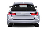 Straight rear view of a 2018 Audi A6 Avant Business Edition 5 Door Wagon stock images