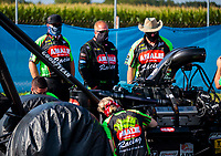 Jul 19, 2020; Clermont, Indiana, USA; NHRA top fuel driver Terry McMillen (near) and crew members during the Summernationals at Lucas Oil Raceway. Mandatory Credit: Mark J. Rebilas-USA TODAY Sports