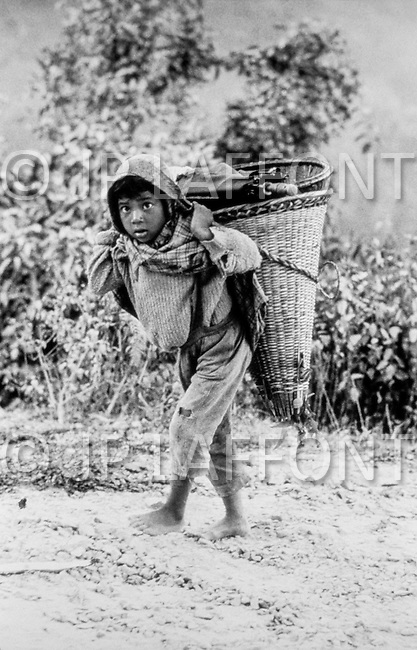 January 1979, India --- Children carry a heavy load in the North East mountains of Meghalaya. --- Image by © JP Laffont