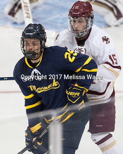 Sami Tavernier (Merrimack - 25), JD Dudek (BC - 15) - The visiting Merrimack College Warriors defeated the Boston College Eagles 6 - 3 (EN) on Friday, February 10, 2017, at Kelley Rink in Conte Forum in Chestnut Hill, Massachusetts.