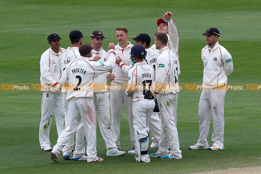 Kyle Jarvis of Lancashire is congratulated by his team mates after taking the wicket of Ryan ten Doeschate during Essex CCC vs Lancashire CCC, Specsavers County Championship Division 1 Cricket at The Cloudfm County Ground on 10th April 2017