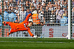James McKeown of Grimsby Town dives in vane during the penalty shoot out during the 2015 Vanarama Conference Promotion Final match between Grimsby Town and Bristol Rovers at Wembley Stadium, London<br /> Picture by David Horn/eXtreme aperture photography +44 7545 970036<br /> 17/05/2015