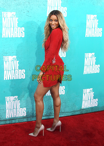 Ciara (Ciara Princess Harris).2012 MTV Movie Awards held at the Gibson Amphitheatre, Universal City, California, USA..3rd June 2012.full length red dress side .CAP/ADM/SLP/LS.©Lee Sherman/Starlitepics/AdMedia/CapitalPictures.
