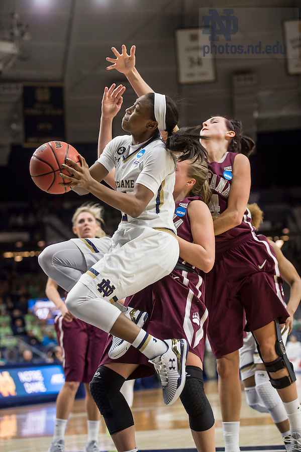 Mar. 20, 2015; Jewell Loyd takes a shot against Montana in the first round of the NCAA Tournament at the Purcell Pavilion. Notre Dame defeated Montana 77 to 43. Photo by Barbara Johnston/University of Notre Dame)