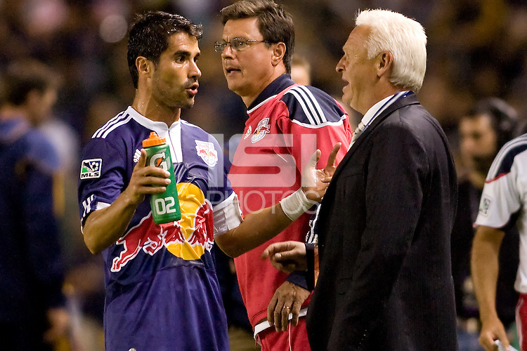 New York Red Bulls head coach Hans Backe and his star forward Juan Pablo Angel discuss the situation. The New York Red Bulls beat the LA Galaxy 2-0 at Home Depot Center stadium in Carson, California on Friday September 24, 2010.