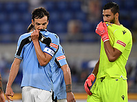 Marco Parolo and Thomas Strakosha of SS Lazio during the Serie A football match between SS Lazio and Cagliari Calcio at Olimpico stadium in Rome ( Italy ), July 23th, 2020. Play resumes behind closed doors following the outbreak of the coronavirus disease. Photo Andrea Staccioli / Insidefoto