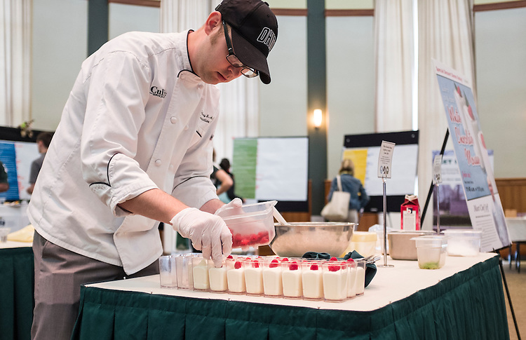 Ohio University Culinary Services Executive Chef Jeffrey Arthur demonstrates the making of white chocolate mousse during the CCN Expo on Wednesday, May 13, 2015.  Photo by Ohio University  /  Rob Hardin