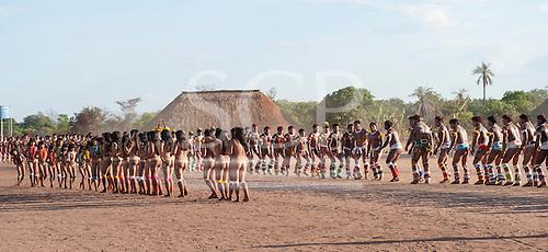 Xingu Indigenous Park, Mato Grosso, Brazil. Aldeia Matipu; dancing during the Kuarup festival.