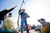Auctioneer Gary Lennox works the crowd at the Seaboard Lions Club Auction in North Carolina.