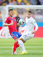 Oscar Duarte of Costa Rica and Ross Barkley of England