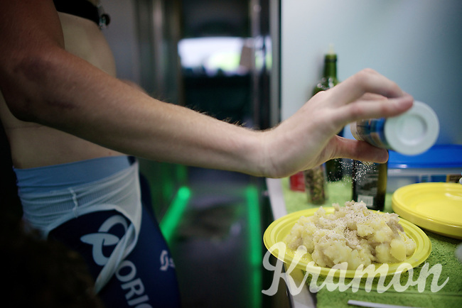 even before showering, a quick hot meal is at every riders priority list right after getting on the teambus after the very last mountain stage in this Tour<br /> <br /> 2014 Tour de France<br /> stage 18: Pau - Hautacam (145km)