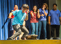 NWA Democrat-Gazette/JASON IVESTER <br /> Rogers High senior Kennedy Sihapanya (cq) takes front stage on Wednesday, Sept. 9, 2015, during a dance-off at Rogers Heritage High School. Student leaders from several area high schools came to the Harbor Back to School Tour lead by keynote speaker, Mike Smith.