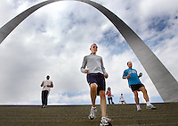 Tuesday, January 29, 2008-People run up and down the steps of the St. Louis arch during the lunch hour.