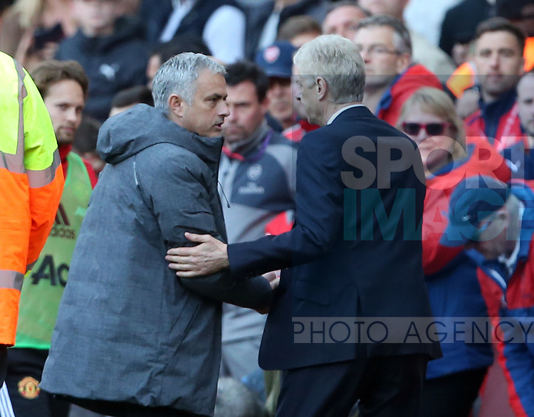 Manchester United's Jose Mourinho shakes hands  with Arsenal's Arsene Wenger during the Premier League match at the Emirates Stadium, London. Picture date: May 7th, 2017. Pic credit should read: David Klein/Sportimage