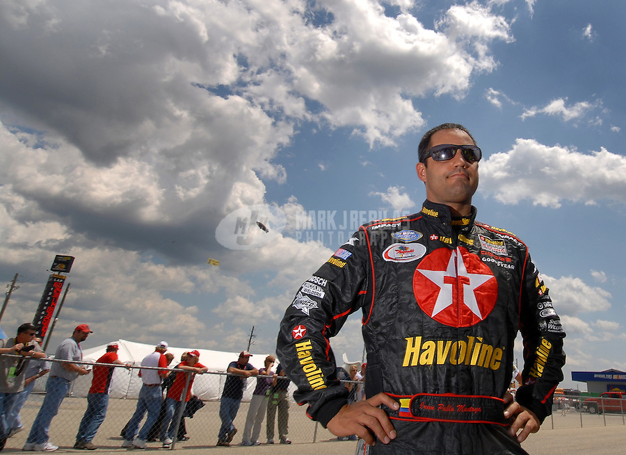 Apr 28, 2007; Talladega, AL, USA; Nascar Nextel Cup Series driver Juan Pablo Montoya (42) during qualifying for the Aarons 499 at Talladega Superspeedway. Mandatory Credit: Mark J. Rebilas