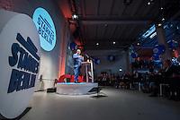 40. Landesparteitag der CDU-Berlin am Freitag den 8. April 2016. Die Delegierten bestimmten per Akklamation den Landesvorsitzenden Frank Henkel zum Spitzenkandidaten fuer die Abgeordnetenhauswahl im September 2016.<br /> Im Bild: Der Landesvorsitzende, Innensenator und CDU-Spitzenkandidat Frank Henkel.<br /> 8.4.2016, Berlin<br /> Copyright: Christian-Ditsch.de<br /> [Inhaltsveraendernde Manipulation des Fotos nur nach ausdruecklicher Genehmigung des Fotografen. Vereinbarungen ueber Abtretung von Persoenlichkeitsrechten/Model Release der abgebildeten Person/Personen liegen nicht vor. NO MODEL RELEASE! Nur fuer Redaktionelle Zwecke. Don't publish without copyright Christian-Ditsch.de, Veroeffentlichung nur mit Fotografennennung, sowie gegen Honorar, MwSt. und Beleg. Konto: I N G - D i B a, IBAN DE58500105175400192269, BIC INGDDEFFXXX, Kontakt: post@christian-ditsch.de<br /> Bei der Bearbeitung der Dateiinformationen darf die Urheberkennzeichnung in den EXIF- und  IPTC-Daten nicht entfernt werden, diese sind in digitalen Medien nach §95c UrhG rechtlich geschuetzt. Der Urhebervermerk wird gemaess §13 UrhG verlangt.]