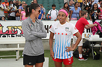 Cary, North Carolina  - Sunday May 21, 2017: Abby Erceg and Samantha Johnson after a regular season National Women's Soccer League (NWSL) match between the North Carolina Courage and the Chicago Red Stars at Sahlen's Stadium at WakeMed Soccer Park. Chicago won the game 3-1.