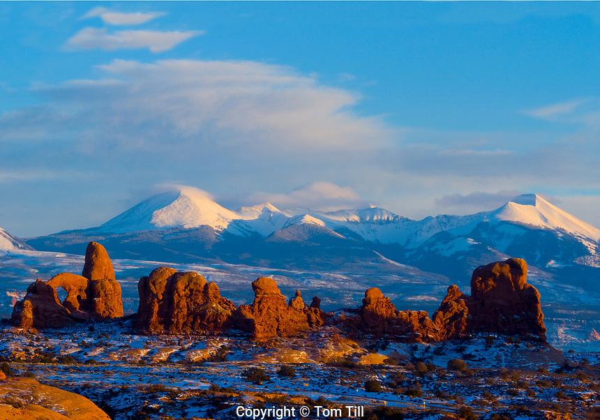 Arches winter panoramic  Arches National Park, Utah  Windows Section and La Sal Mountains