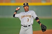 Second baseman Thairo Estrada (3) of the Charleston RiverDogs warms up before a game against the Greenville Drive on Tuesday May 17, 2016, at Fluor Field at the West End in Greenville, South Carolina. Greenville won, 4-2. (Tom Priddy/Four Seam Images)