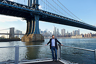 A casual environmental portrait for an editorial shoot done in Brooklyn Bridge park.