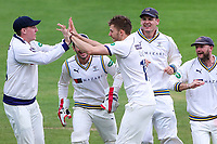 Picture by Alex Whitehead/SWpix.com - 22/04/2018 - Cricket - Specsavers County Championship Div One - Yorkshire v Nottinghamshire, Day 3 - Emerald Headingley Stadium, Leeds, England - Yorkshire's Ben Coad celebrates with team-mates after taking the wicket of Notts' Steven Mullaney.