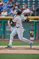 Javy Guerra (5) of the El Paso Chihuahuas bats against the Salt Lake Bees at Smith's Ballpark on August 14, 2018 in Salt Lake City, Utah. El Paso defeated Salt Lake 6-3. (Stephen Smith/Four Seam Images)