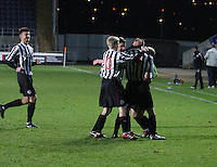 St Mirren players jubilant after the penalty win at the Falkirk v St Mirren  Scottish Football Association Youth Cup 4th Round match played at the Falkirk Stadium, Falkirk on 16.12.12.
