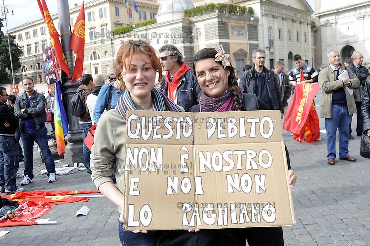 Roma, 21 Ottobre 2011.Piazza del Popolo.Manifestazione della Fiom per il Lavoro , la Democrazia , contro i Licenziamenti..