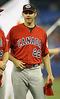 March 7, 2009:  Pitcher Bryan Dumesnil (22) of Canada during the first round of the World Baseball Classic at the Rogers Centre in Toronto, Ontario, Canada.  Team USA defeated Canada 6-5 in both teams opening game of the tournament.  Photo by:  Mike Janes/Four Seam Images