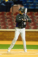 Jack Livingston #55 of the Northwestern Wildcats at bat against the Wake Forest Demon Deacons at Gene Hooks Field on February 26, 2011 in Winston-Salem, North Carolina.  Photo by Brian Westerholt / Four Seam Images