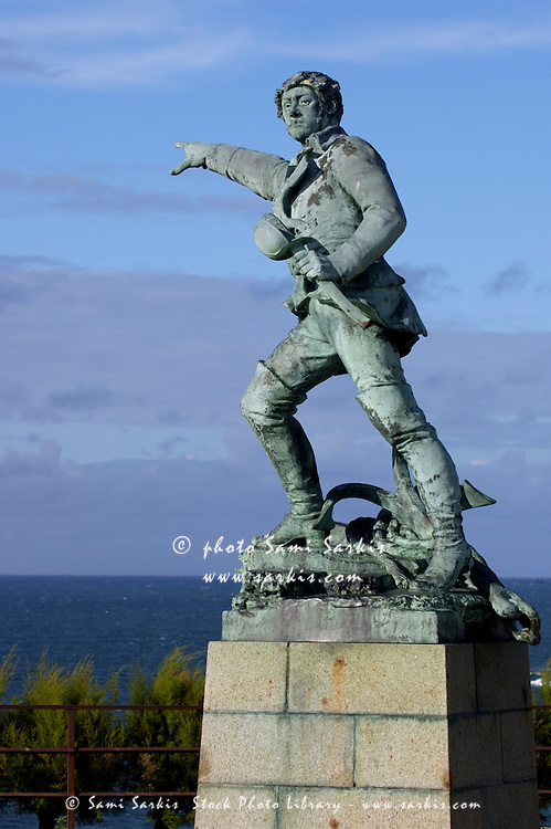 Statue of a buccaneer in Saint-Malo, Brittany, France.