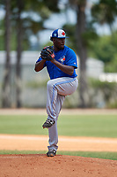 Toronto Blue Jays pitcher Eliezer Bello (85) during a Minor League Extended Spring Training game against the Detroit Tigers on May 23, 2019 at Tigertown in Lakeland, Florida.  (Mike Janes/Four Seam Images)